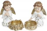 """Набір 2 декоративних підсвічники """"Зоряний Ангел"""" Золото 11х6х10.5см, полістоун"""