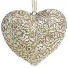 """Набір 4 декоративні підвіски """"Мереживне серце"""" Антік 8х7х3.5см, полістоун"""