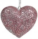 "Набор 4 декоративные подвески ""Кружевное сердце"" Тиффани 8х7х3.5см, полистоун"