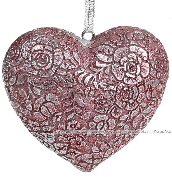 """Набір 4 декоративні підвіски """"Мереживне серце"""" Тіффані 8х7х3.5см, полістоун"""