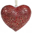 "Набор 4 декоративные подвески ""Кружевное сердце"" Бордо 8х7х3.5см, полистоун"