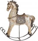 """Декоративна статуетка-качалка """"Конячка"""" 23х6х24см, полістоун, коричнева з золотом"""