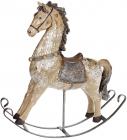 """Декоративная статуэтка-качалка """"Лошадка"""" 27х7.5х30см, полистоун, коричневая с золотом"""