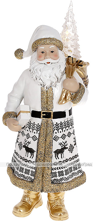 """Фигура декоративная """"Санта Клаус с Елочкой"""" 40см, белый с золотом"""