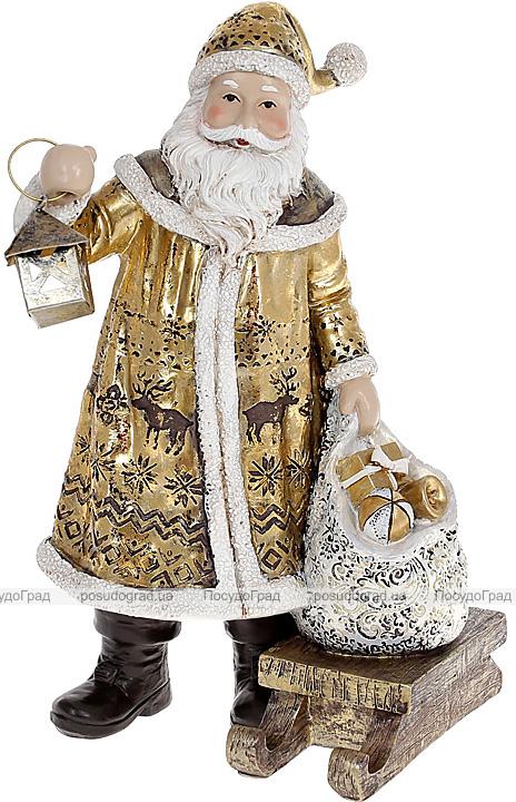 """Фігура декоративна """"Санта Клаус з ліхтарем, мішком і санками"""" 24.5см, золотий"""