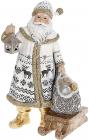 """Фигура декоративная """"Санта Клаус с фонарем, мешком и санками"""" 24.5см, белый с золотом"""
