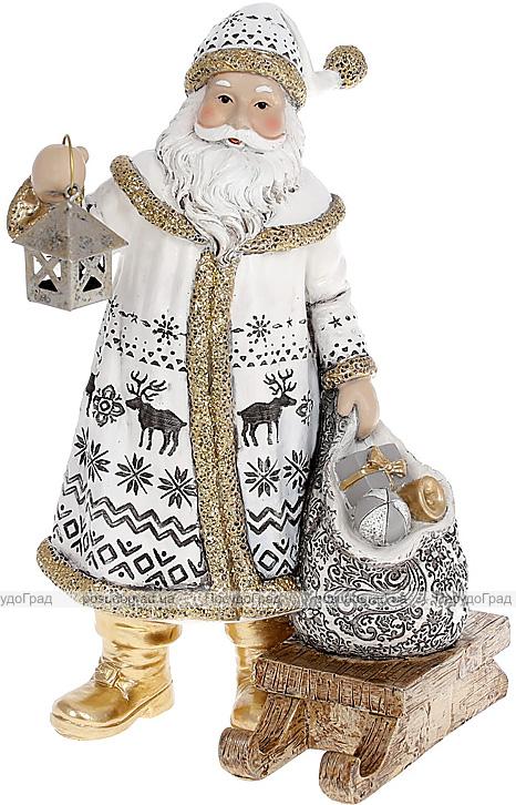 """Фігура декоративна """"Санта Клаус з ліхтарем, мішком і санками"""" 24.5см, білий з золотом"""