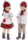 """Набор 2 декоративных фигурки """"Детки с Птичками"""" 20см, белый с красным"""