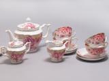 Чайный сервиз Букет роз 220мл 15 предметов: 6 чашек, 6 блюдец, чайник, молочник и сахарница