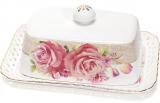 Масленка Букет роз-132 17x12x6.5см, фарфоровая