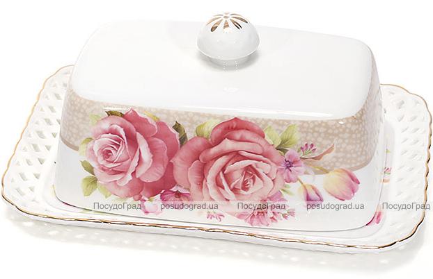 """Масленка """"Букет роз""""-132 17x12x6.5см, фарфоровая"""