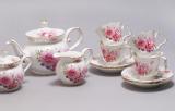 """Чайний сервіз """"Букет троянд"""" 220мл 15 предметів: 6 чашок і 6 блюдець, чайник, молочник і цукорниця"""