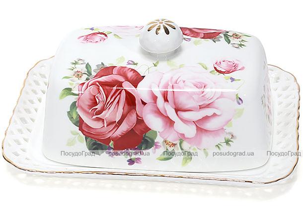 """Масленка """"Букет роз""""-140 17x12x6.5см, фарфоровая"""