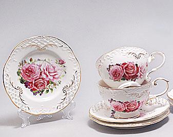 """Чайный сервиз """"Букет роз"""" 6 чашек по 220мл и 6 блюдец"""