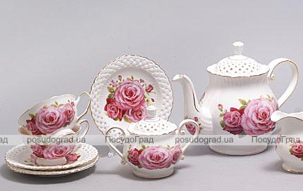 """Чайный сервиз """"Букет роз"""" 220мл 15 предметов"""