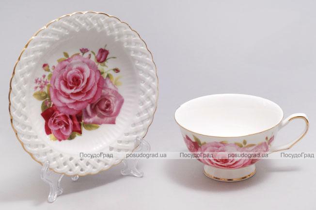 """Подарочная чайная пара """"Букет роз"""" чашка 220 мл с блюдцем"""