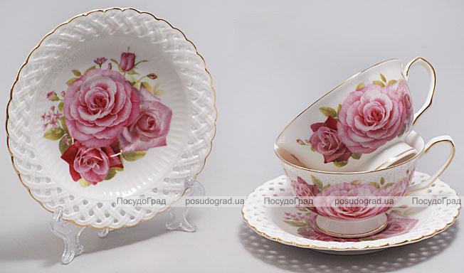 """Подарочный чайный набор """"Букет роз"""" чашки 220 мл с блюдцами"""
