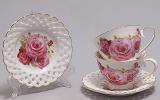 """Подарунковий кавовий набір """"Букет троянд"""" чашки 90 мл з блюдцями"""
