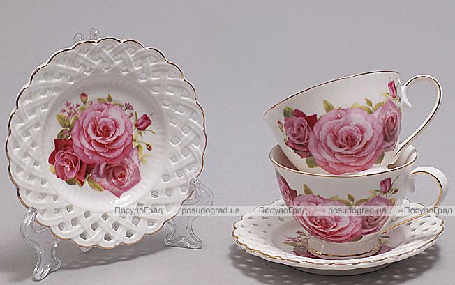 """Подарочный кофейный набор """"Букет роз"""" чашки 90 мл с блюдцами"""