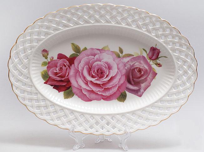 """Блюдо """"Букет роз"""" овальное 30см"""