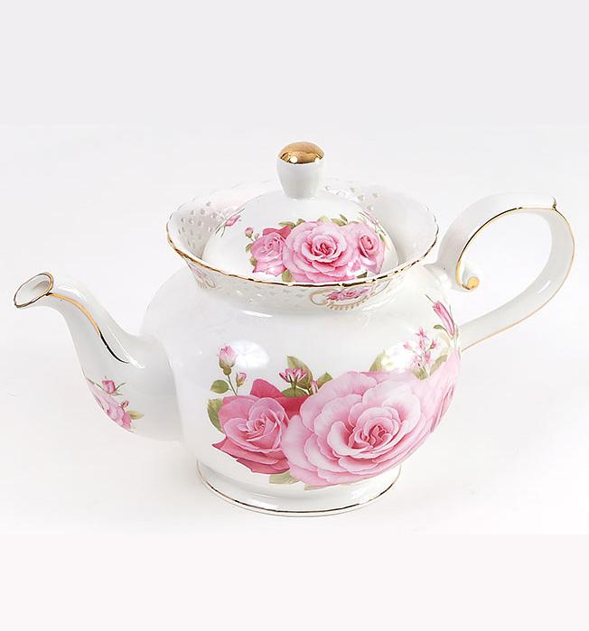"""Чайник заварочный """"Букет роз"""" 1200мл, фарфор"""