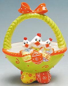 """Кошик для яєць """"Весела трійка"""" декоративний з кераміки 24см"""