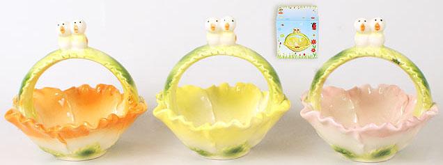 """Корзина для яиц """"Певчая парочка"""" декоративная из керамики 13см"""
