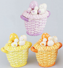 Корзина для яиц Цыплята декоративная из керамики 16см
