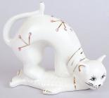 """Статуетка фарфорова декоративна """"Кішка з рибою"""" 12см"""