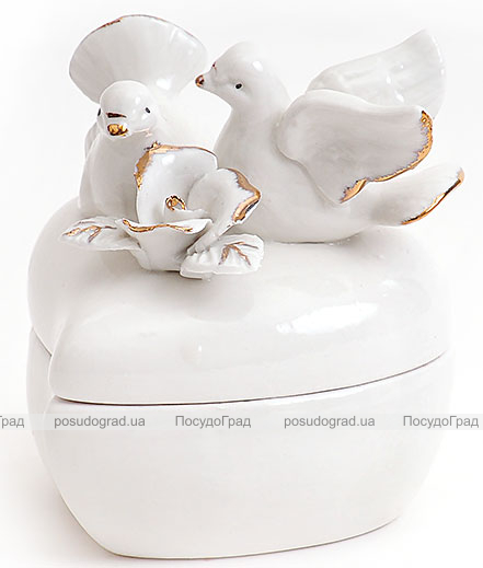 "Фарфоровая шкатулка ""Белая Принцесса Голуби с Розой"", 9.5x8x9см"
