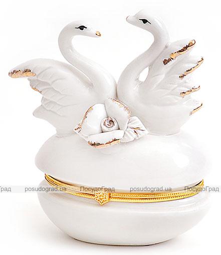 """Фарфоровая шкатулка """"Белая Принцесса Лебеди с Розой"""" с замочком, 9.5x5x11см"""