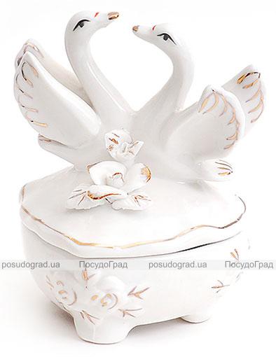 """Фарфоровая шкатулка """"Белая Принцесса Лебединый Танец"""", 9x9x10см"""