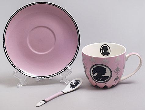 """Чайная пара """"Силуэт"""" розовая чашка 280мл с блюдцем и керамической ложкой"""
