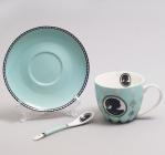 """Чайная пара """"Силуэт"""" бирюзовая чашка 280мл с блюдцем и керамической ложкой"""