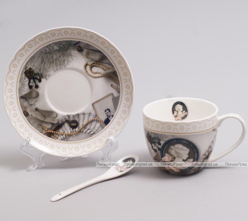 """Чайная пара """"Силуэт"""" чашка 280мл с блюдцем и керамической ложкой"""