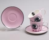 """Чайний набір """"Силует"""" 2 рожеві чашки 280мл з блюдцями"""