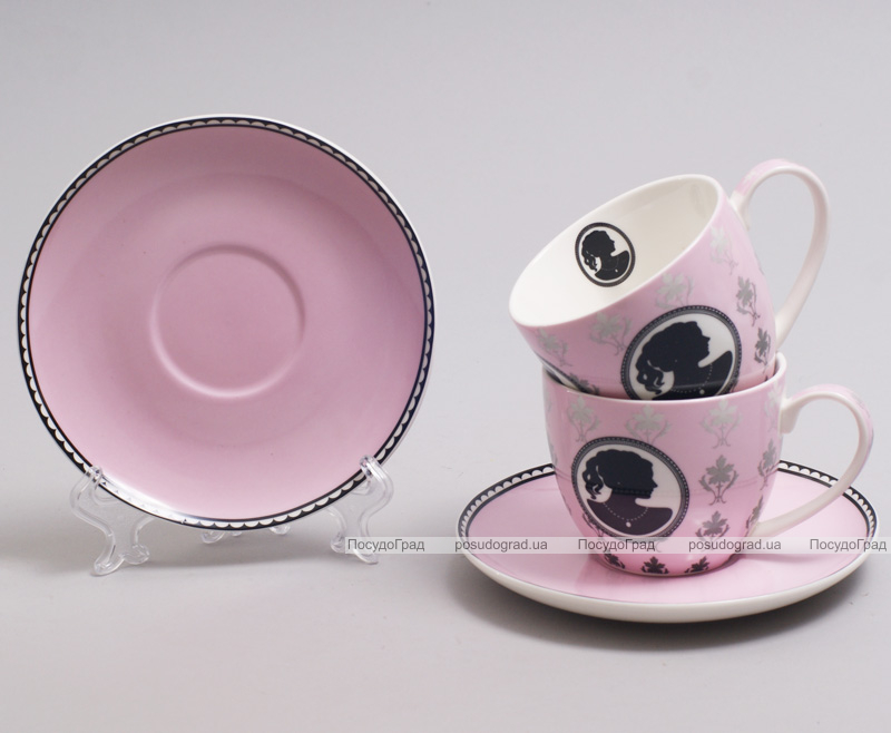 """Чайный набор """"Силуэт"""" 2 розовые чашки 280мл с блюдцами"""