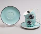Чайный набор Силуэт 2 бирюзовые чашки 280мл с блюдцами