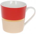 """Кружка фарфорова """"Джайв"""" 390мл, червоний з бежевим, в подарунковій упаковці"""