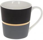 """Кружка фарфорова """"Джайв"""" 390мл, чорний з сірим, в подарунковій упаковці"""