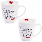 """Кружка фарфоровая """"Моя супер семья"""" 500мл (""""Super Dad"""" & """"Super Mom"""")"""