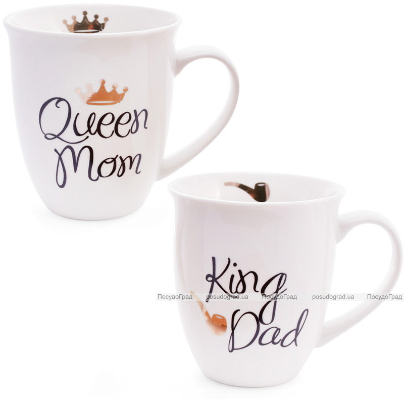 """Кружка фарфоровая """"Моя королевская семья"""" 500мл (""""King Dad"""" & """"Queen Mom"""")"""