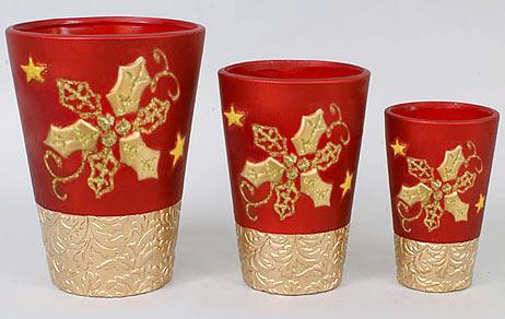 Набор 3 вазы Gold Motifs Red 16.5см, 13.6см, 9.5см