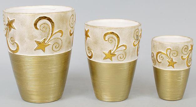 Набор 3 вазы Gold Motifs Star 17.5см, 15см и 12см