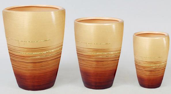 Набор 3 вазы Gold Motifs Brown 17.5см, 15см и 12см