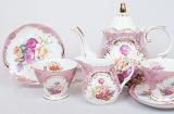 """Чайний сервіз """"Gold Tea Pink"""" 15 предметів 200мл"""