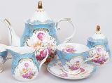 """Чайний сервіз """"Gold Tea Blue"""" 15 предметів 200мл"""