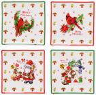 """Набір 4 фарфорових блюдця """"Merry Christmas"""" для сервірування 10х10см в подарунковій коробці"""