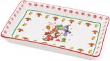 """Блюдо фарфоровое """"Снеговики"""" для сервировки 18.5х11.5см в подарочной коробке"""
