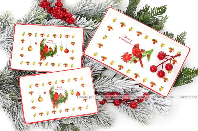 """Набор 3 фарфоровых блюда """"Merry Christmas"""" для сервировки в подарочной коробке"""